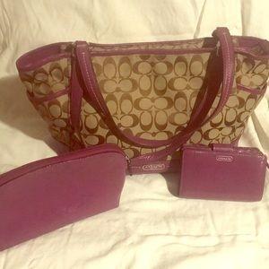 Coach Bag w/ Wallet & Makeup Bag